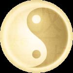 gouden yin yang symbool